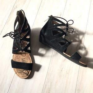 Sam Edelman Lace -up Black Sandals